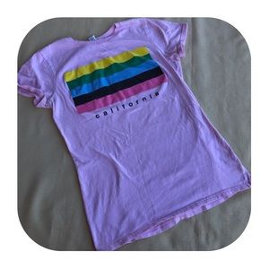 "6/$15 Juniors M ""California"" pink T-shirt"
